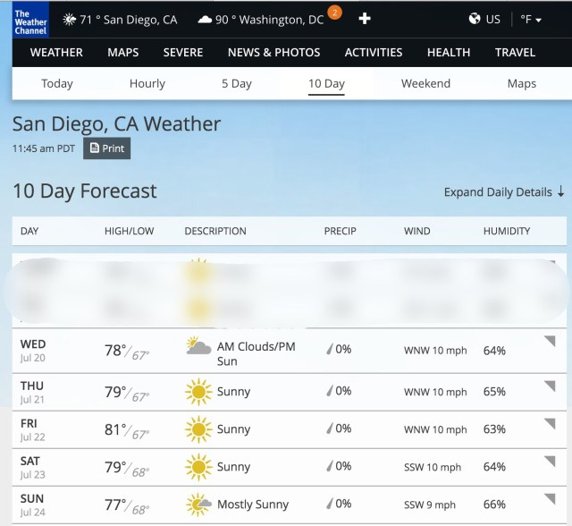 SDCC2016 Weather Channel forecast
