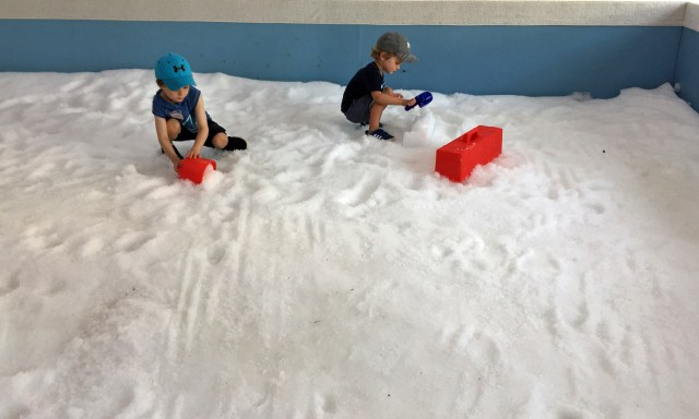 Indoor snow piles for building at Philadelphia Zoo's New Winter Exhibit!