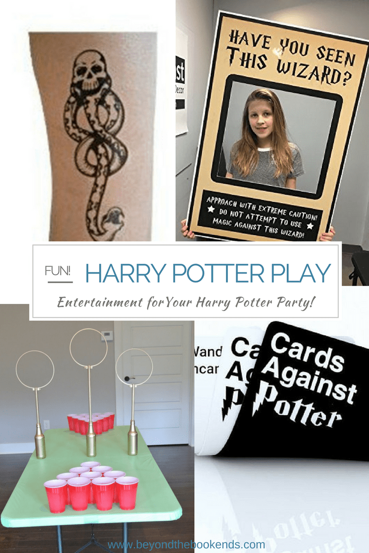 Looking for entertainment for your Harry Potter party? From dark mark tattoos to tabletop quidditch, there is something for ages young and old!