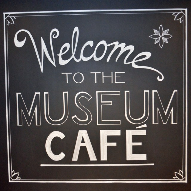 Cafe sign welcomes you to the newly renovated restaurant at the Art Museum.
