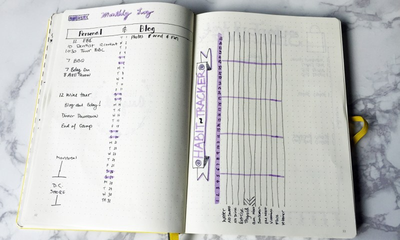 Monthly page spread and habit tracker for bullet journal.