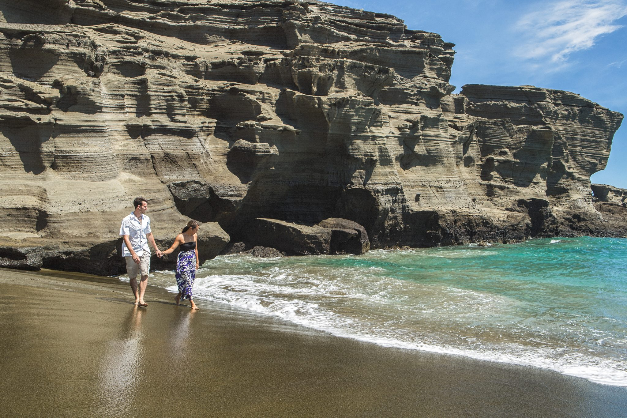 engagement photography green sand beach hawaii