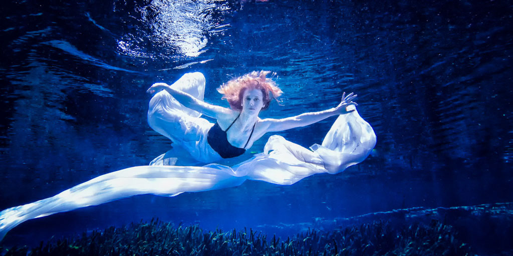 Hawaii Conceptual Portrait underwater woman in gown