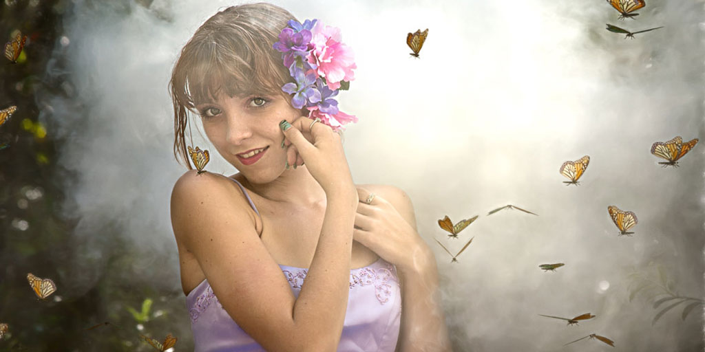 Hawaii Conceptual Portrait woman with flowers and butterflies