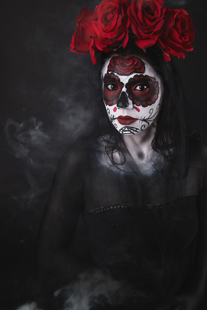 Hawaii Conceptual Portrait day of the dead sugarskull woman with fog