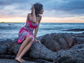 Hawaii Portrait solo woman portrait sunset rocks mauna lani resort