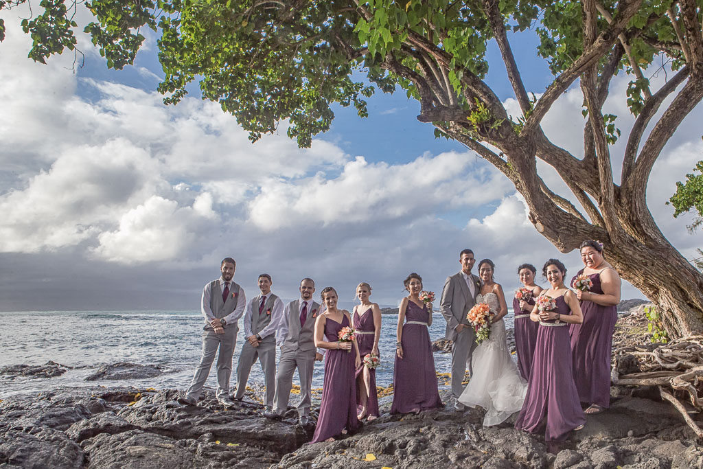Hawaii wedding photography wedding party formal richardson ocean park beach professional photographer