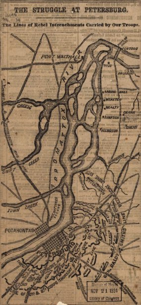 The struggle of Petersburg. The lines of rebel intrenchments carried by our troops. [June 15-17,1864].