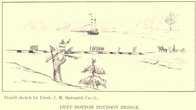 Pencil Sketch of Jones Neck Pontoon Bridge at Deep Bottom by J. M. Barnard, 24thMA