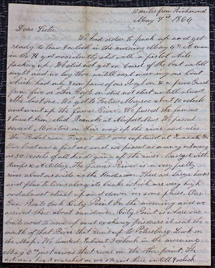 18640507 Elias Peck 10th CT Letter Page 1