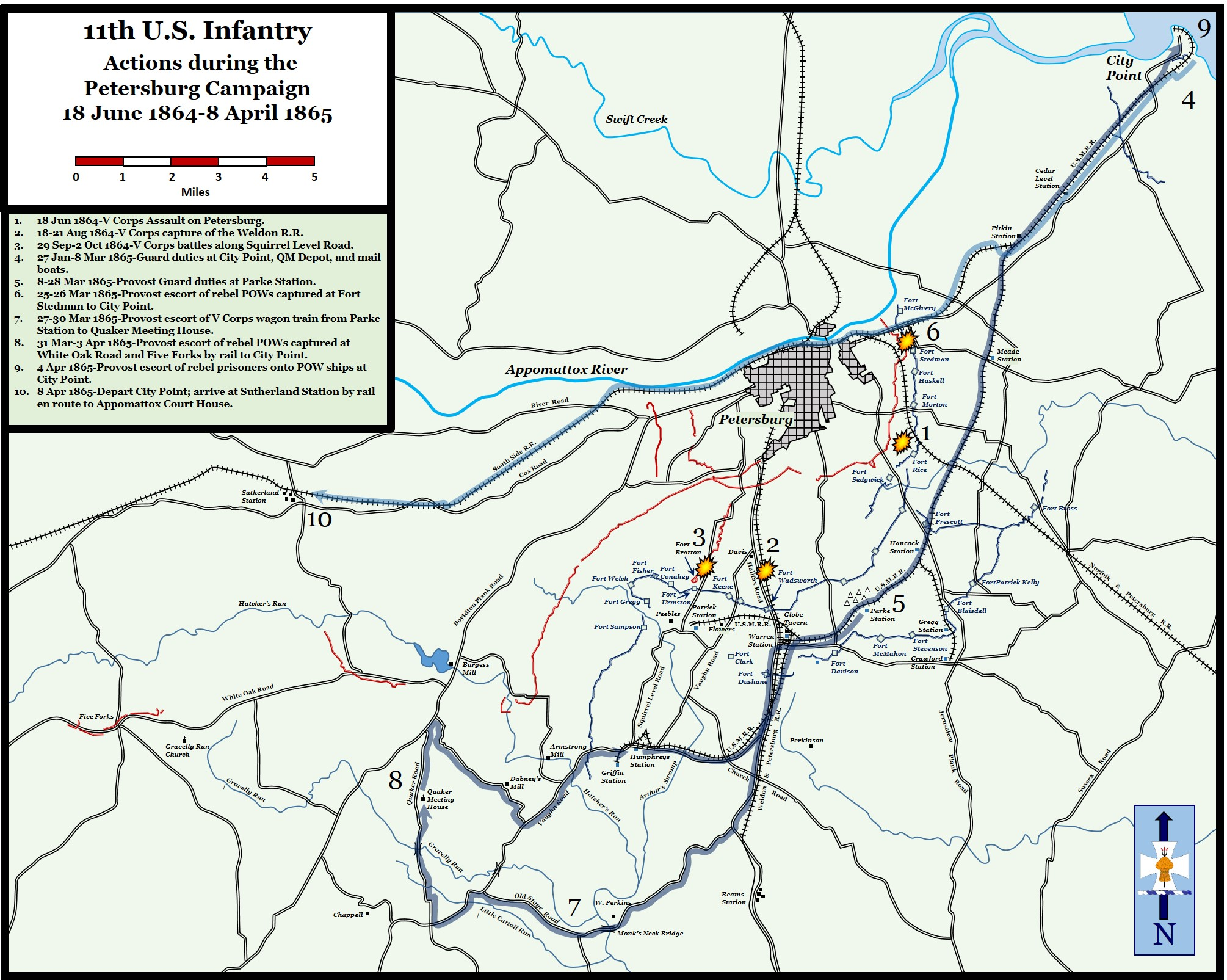 Map 11th Us Actions During The Petersburg Campaign June 18 1864 - Us-map-1864