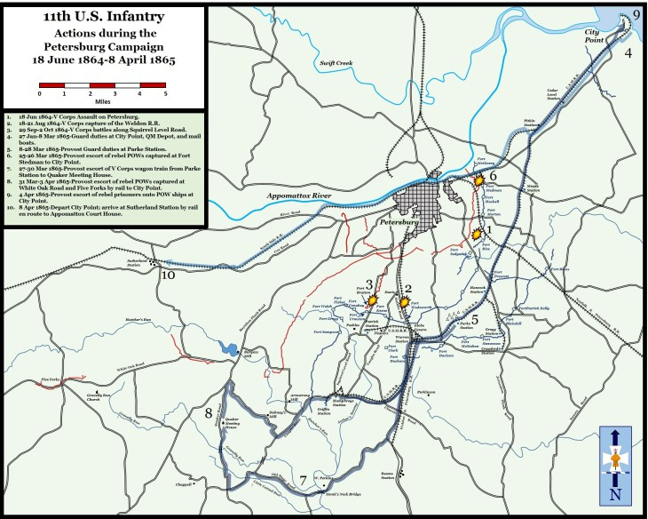 11th United States Infantry Actions During the Petersburg Campaign, June 18, 1864-April 8, 1865
