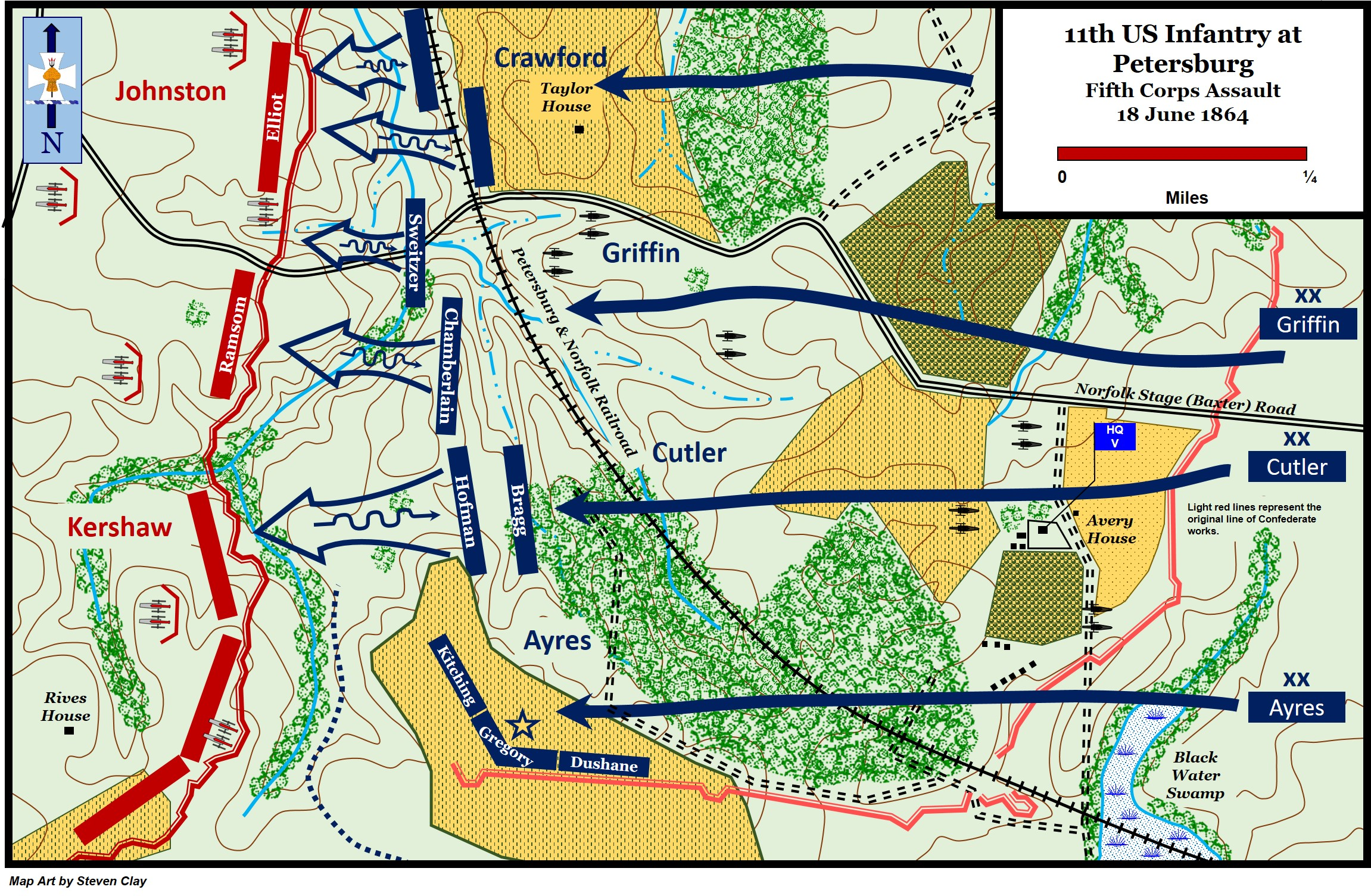 Map The Second Battle Of Petersburg Fifth Corps Assault June 18 - Us-map-1864