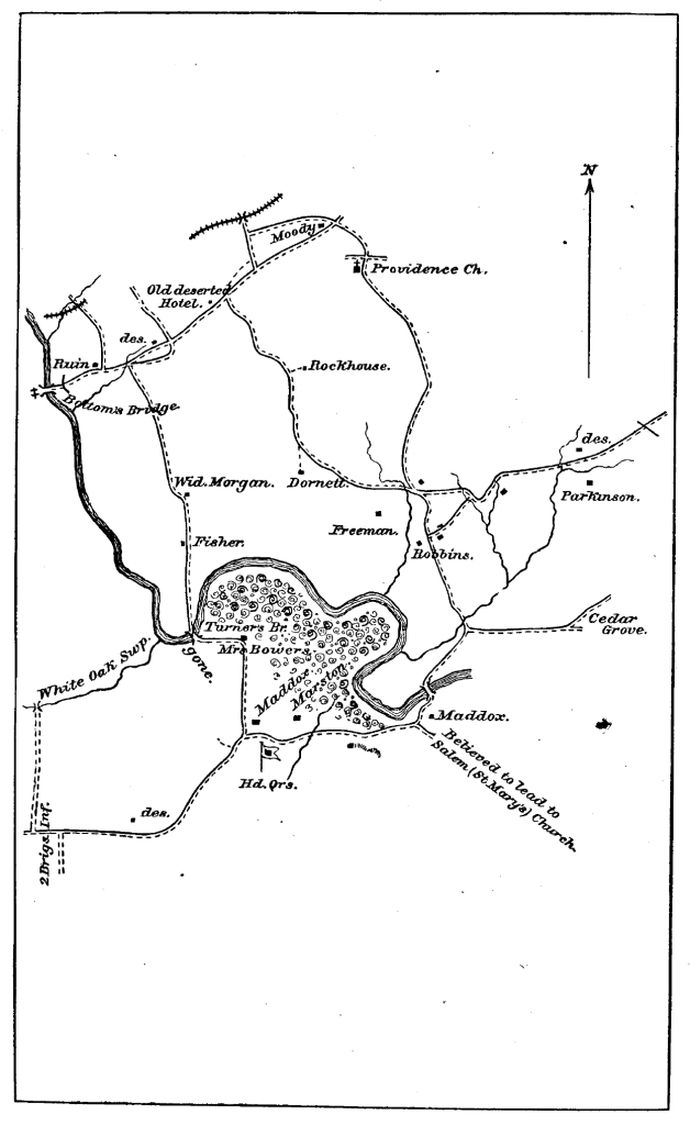 XLPart2Pg007Map1: MAP: Fifth Corps Movements and Positions Near the Chickahominy River, June 13, 1864 (Official Records)