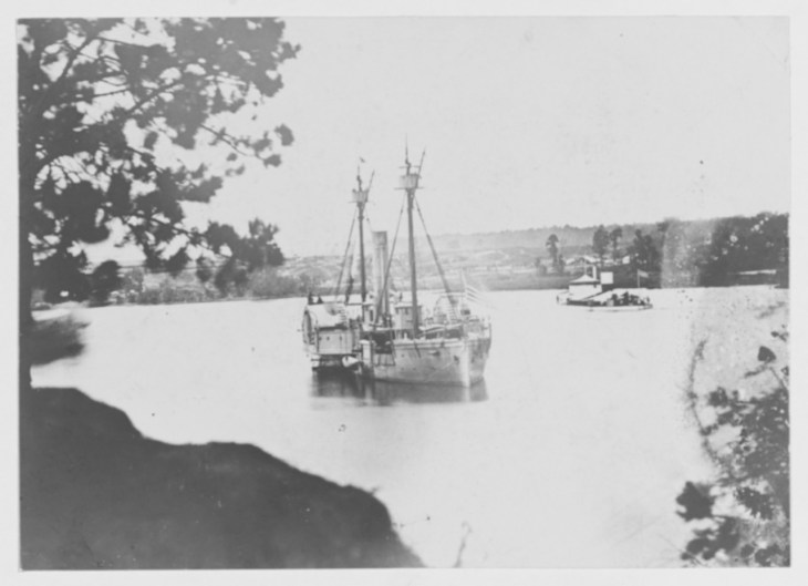 NH 57251 A Double-Ender gunboat In the James River, Virginia, 1864-65.