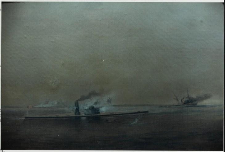 """""""NH 101697-KN USS MONTAUK Sinking C.S. Privateer RATTLESNAKE, February 28, 1863."""""""