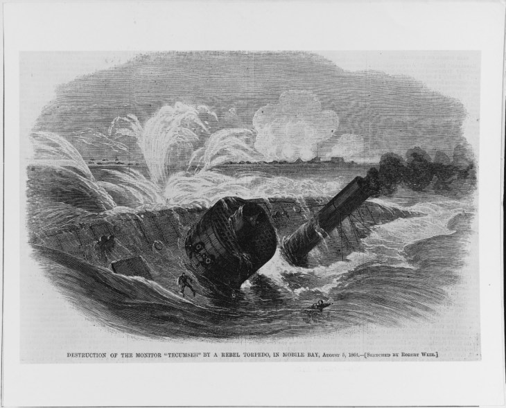 """NH 61473: """"Destruction of the Monitor 'Tecumseh' by a Rebel Torpedo, in Mobile Bay, August 5, 1864."""""""