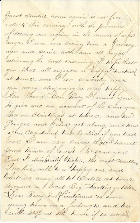 Second page of John Mayers' December 25, 1864 letter home from the Siege of Petersburg.