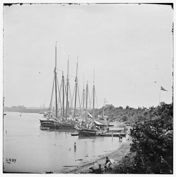 Photo of White House Landing, Va. View down river, with supply vessels