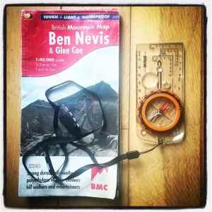 Silva Expedition Compass and British Mountain Map Ben Nevis and Glencoe