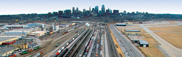 Skyline and Rail lines in Kansas City