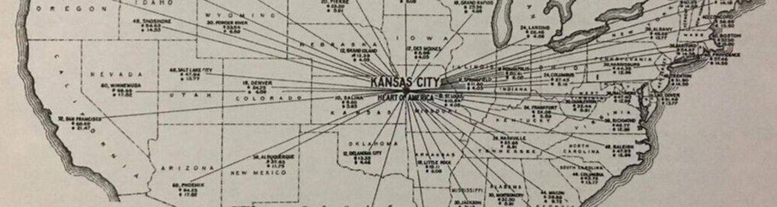 Graphic showing Kansas City as the hub in the hub-and-spoke distribution model