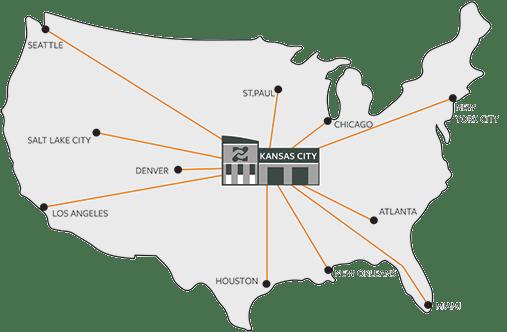 Kansas City as the hub in the hub-and-spoke distribution model