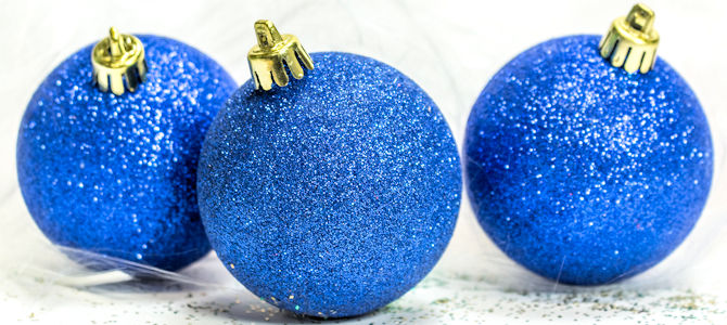 Glittery Holiday Ornaments - Photo by Cindy Shebley