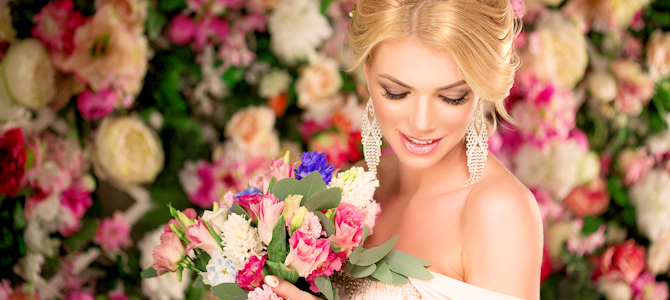 Photoshopped Bridal Model - Note the even skin, no blemishes, perfect focus, etc. - Image by Derrick Brutel