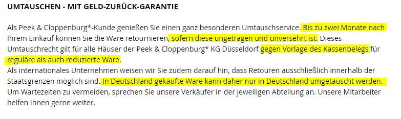 Umtausch Bei Peek Cloppenburg Tipp Rechte Pflichten