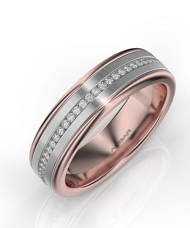 two- tone- mens-diamond- wedding band white rose gold