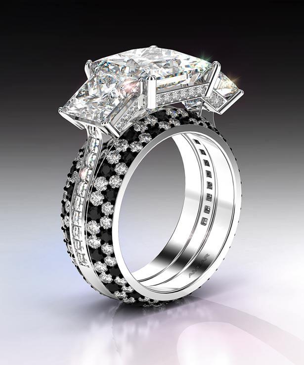 Trio-three-stone-ring-with-princess-cut-diamond-and-blaze-cut-diamonds-and-blace-and-white-pave-diamonds-amazing-615×737