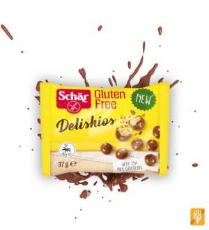 Delishios - chrumkavé bezgluténové cereálie máčané v čokoláde - Schaer
