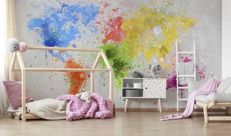 Domek łóżko i tapeta do pokoju dziewczynki