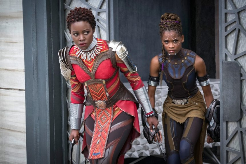 Lupita Nyong'o as Nakia and Letitia Wright as Shuri