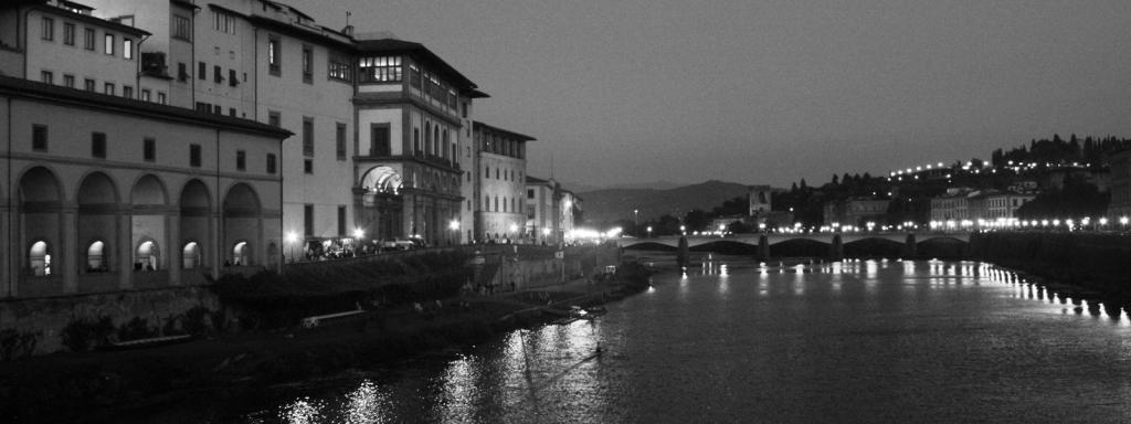 Florence's Arno River at night Black & White