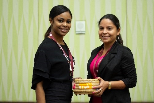 Sponsor Prize Winner: BFSB presents Alma Galeanos from Belize with a hand-crafted Bahamian straw basket w/ Androsia accents