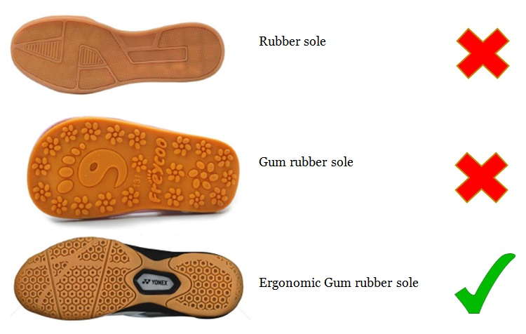 Ergonomic Gum Rubber Sole - the right sole for badminton shoes/footwear