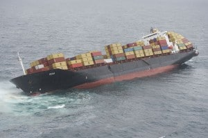 Rena cargo ship ran aground and sinking.