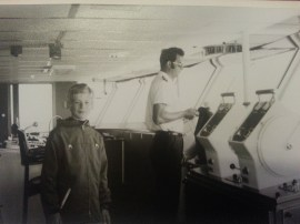 """1972 - at age 10 """"at the helm"""" of a big ferry from Denmark to Sweden"""