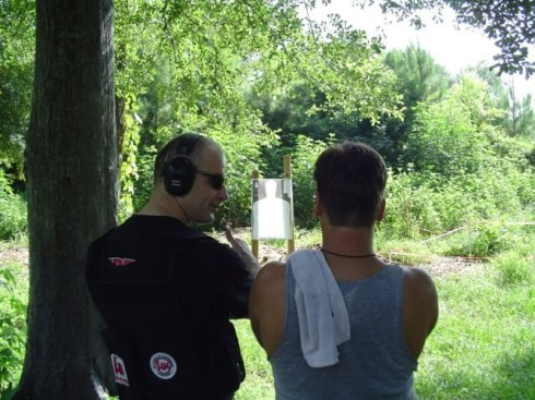 Gun Training on the ranch in New Waverly - me being the instructor here