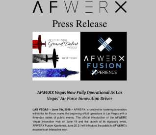 AFWERX Vegas Grand Debut June 19, 2018 @ 5:00 pm
