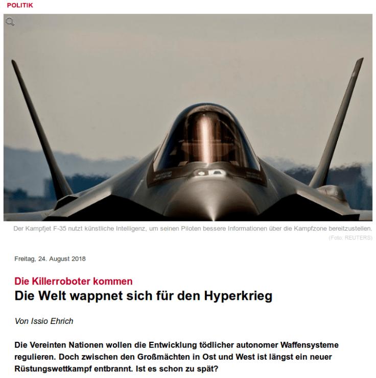 Hyperkrieg Article Spiegel Germany 24 AUG 2018