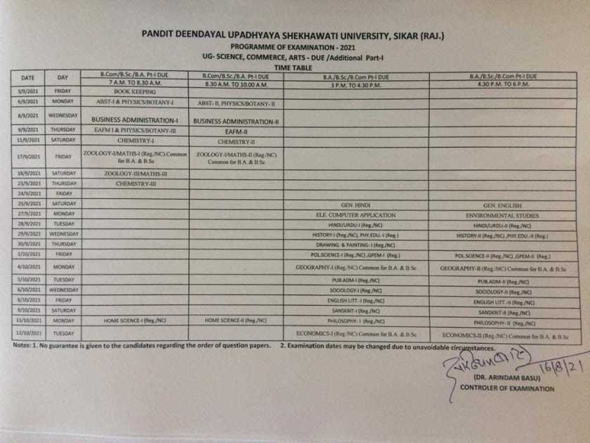 PDUSU UG Due Additional Part 1 Exam Time Table