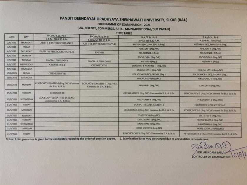 PDUSU UG Main Additional Due Part 2 Exam Time Table