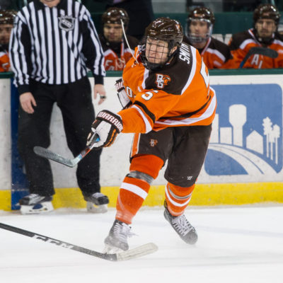 BG's Adam Smith shoots the puck during Saturday's game against Bemidji State.