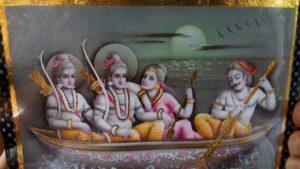 Sri Sita Rama Parivaram are crossing River Sarayu - Ayodya