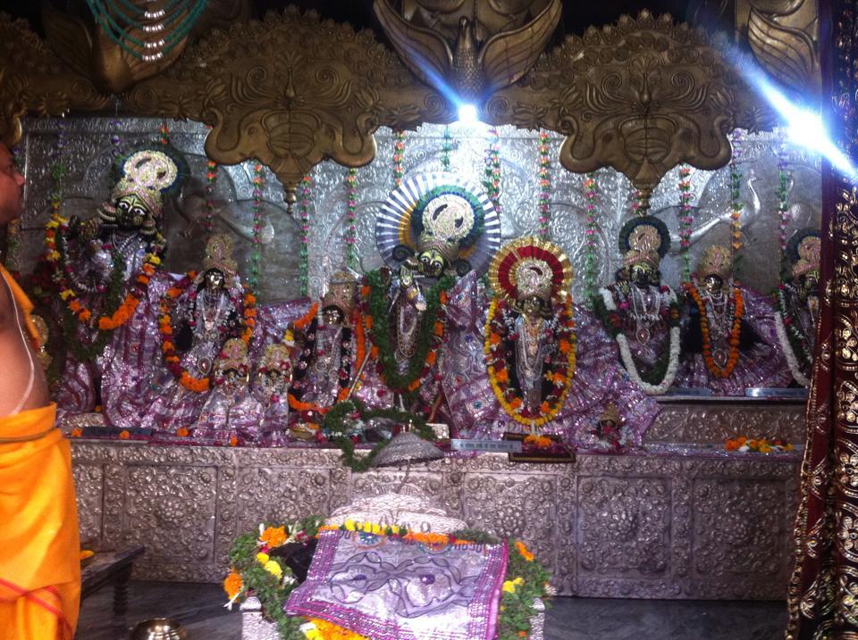 Deidades Sri Sri Radha Damodara, Sri Vrindavana-candra, Sri Chailacikaniya, Sri Radha-Madhava, e outras, em Vrindavana