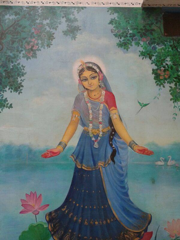 Pintura de Srimati Radhika em Radha kunda