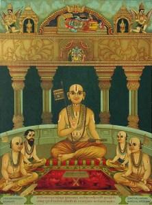 """Quando Sri Ramanuja veio a saber que o comportamento de sua esposa tinha ofendido uma Vaisnava, ele se sentiu muito mal e pensou: """"Ela está cometendo vaisnava-aparadha; ela tem uma mentalidade ofensiva. Devo fazer algo."""""""